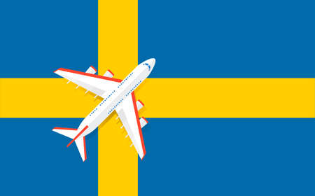Vector Illustration of a passenger plane flying over the flag of Sweden. Concept of tourism and travel