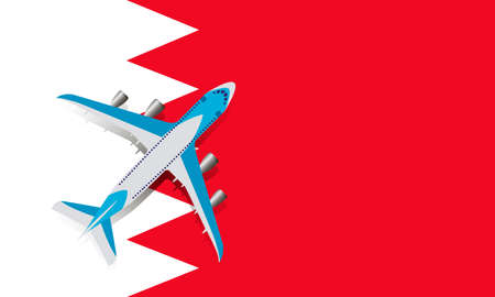 Vector Illustration of a passenger plane flying over the flag of Bahrain. Concept of tourism and travel
