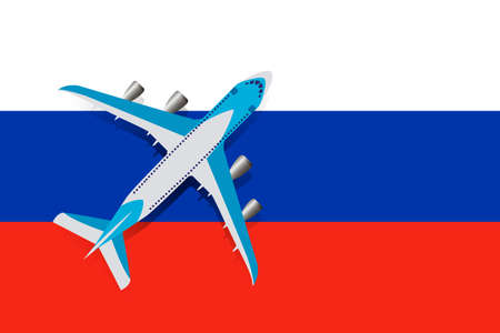 Vector Illustration of a passenger plane flying over the flag of Russia. Concept of tourism and travel Vettoriali