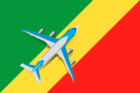 Vector Illustration of a passenger plane flying over the flag of the Republic of the Congo. Concept of tourism and travel