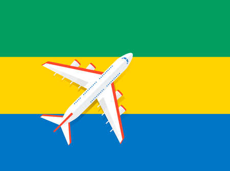 Vector Illustration of a passenger plane flying over the flag of Gabana. Concept of tourism and travel Vettoriali