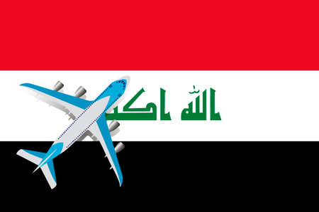 Vector Illustration of a passenger plane flying over the flag of Iraq. Concept of tourism and travel Vettoriali