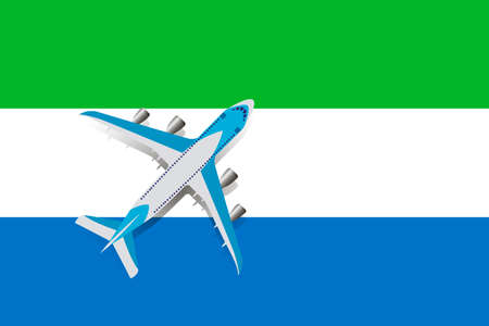 Vector Illustration of a passenger plane flying over the flag of Sierra Leone. Concept of tourism and travel
