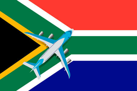 Vector Illustration of a passenger plane flying over the flag of the Republic of South Africa. Concept of tourism and travel