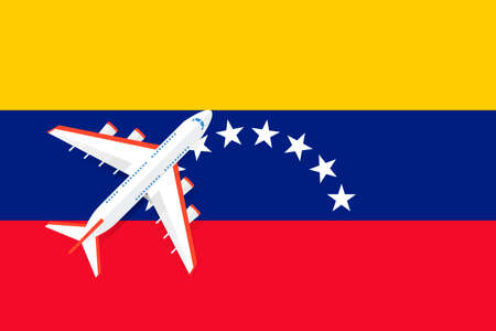 Vector Illustration of a passenger plane flying over the flag of Venezuela. Concept of tourism and travel