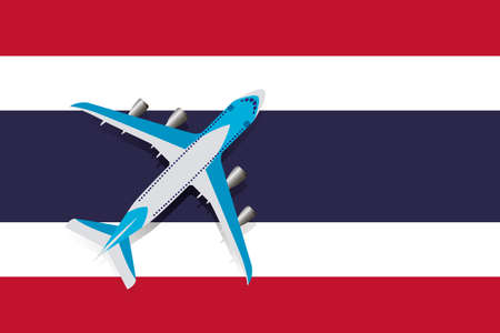 Vector Illustration of a passenger plane flying over the flag of Thailand. Concept of tourism and travel Vettoriali