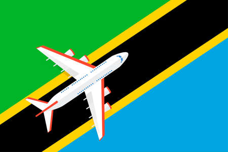 Vector Illustration of a passenger plane flying over the flag of Tanzania. Concept of tourism and travel