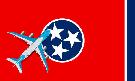 Vector Illustration of a passenger plane flying over the flag of Tennessee. Concept of tourism and travel