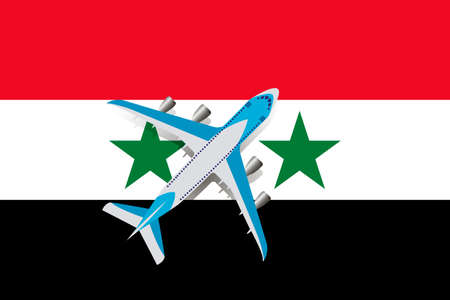 Vector Illustration of a passenger plane flying over the flag of Syria. Concept of tourism and travel