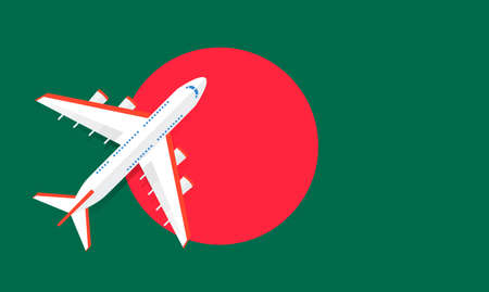 Vector Illustration of a passenger plane flying over the flag of Bangladesh. Concept of tourism and travel Vettoriali