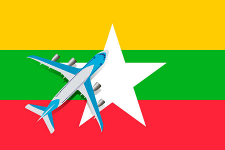 Vector Illustration of a passenger plane flying over the flag of Myanmar. Concept of tourism and travel