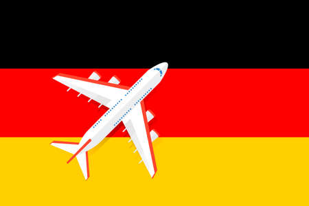Vector Illustration of a passenger plane flying over the German flag. Concept of tourism and travel Stock Illustratie