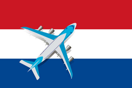 Vector Illustration of a passenger plane flying over the flag of the Netherlands. Concept of tourism and travel Vettoriali