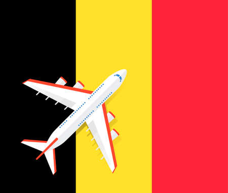 Vector Illustration of a passenger plane flying over the flag of Belgium. Concept of tourism and travel