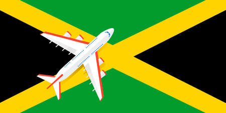 Vector Illustration of a passenger plane flying over the flag of Jamaica. Concept of tourism and travel Vettoriali