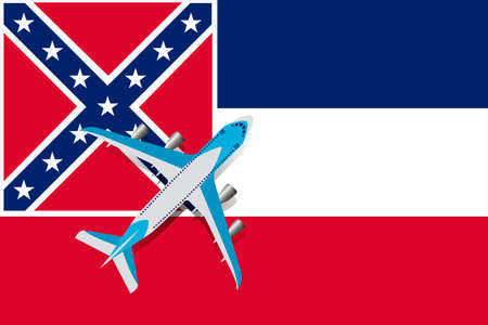 Vector Illustration of a passenger plane flying over the Mississippi flag. Concept of tourism and travel Vettoriali