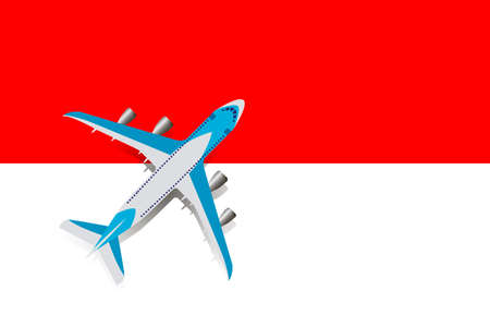Vector Illustration of a passenger plane flying over the flag of Indonesia. Concept of tourism and travel
