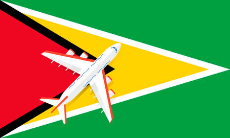 Vector Illustration of a passenger plane flying over the flag of Guyana. Concept of tourism and travel Vettoriali