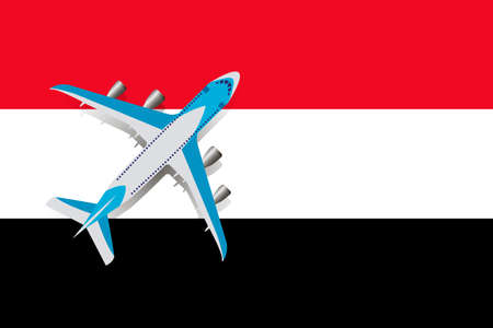 Vector Illustration of a passenger plane flying over the flag of Yemen. Concept of tourism and travel Vettoriali