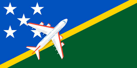 Vector Illustration of a passenger plane flying over the flag of the Solomon Islands. Concept of tourism and travel