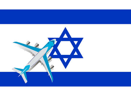 Vector Illustration of a passenger plane flying over the flag of Israel. Concept of tourism and travel