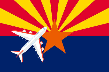 Vector Illustration of a passenger plane flying over the Arizona flag. Concept of tourism and travel