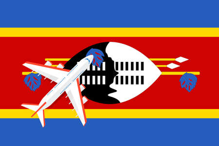 Vector Illustration of a passenger plane flying over the flag of Swaziland. Concept of tourism and travel