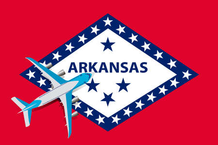 Vector Illustration of a passenger plane flying over the Arkansas flag. Concept of tourism and travel Vettoriali