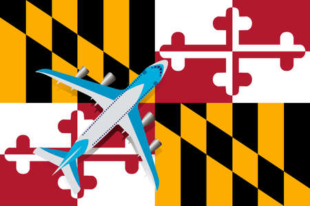 Vector Illustration of a passenger plane flying over the flag of Maryland. Concept of tourism and travel Vettoriali
