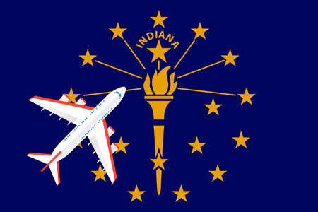 Vector Illustration of a passenger plane flying over the flag of Indiana. Concept of tourism and travel Vettoriali