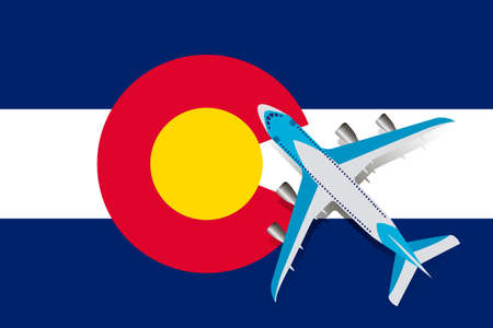 Vector Illustration of a passenger plane flying over the Colorado flag. Concept of tourism and travel Vettoriali