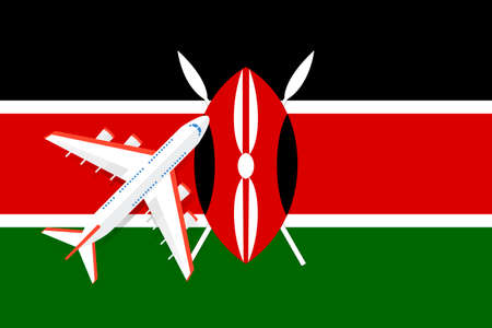 Vector Illustration of a passenger plane flying over the flag of Kenya. Concept of tourism and travel Vettoriali