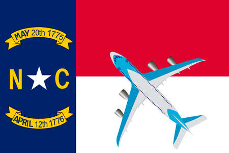 Vector Illustration of a passenger plane flying over the flag of North Carolina. Concept of tourism and travel