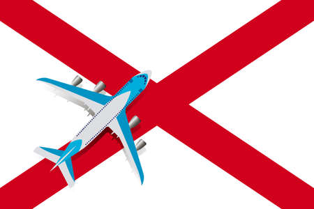 Vector Illustration of a passenger plane flying over the flag of Alabama. Concept of tourism and travel
