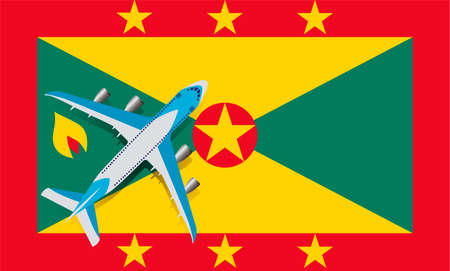 Vector Illustration of a passenger plane flying over the flag of Grenada. Concept of tourism and travel