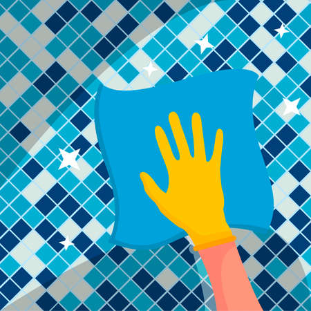 A domestic worker wipes the tiles in the bathroom with a napkin. Wipe it off with a cloth. Yellow gloves on the hands. The concept of room cleaning. Cleaning and disinfection. Vector illustration of a flat design.