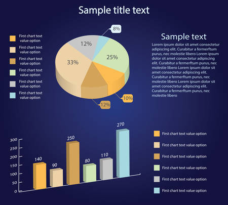 Isometric 3d vector charts. Pie chart and bar chart. Infographic presentation, design data finance