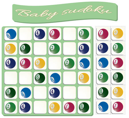 Baby Sudoku with colorful billiard balls. Game for preschool kids, training logic Banque d'images - 120759350