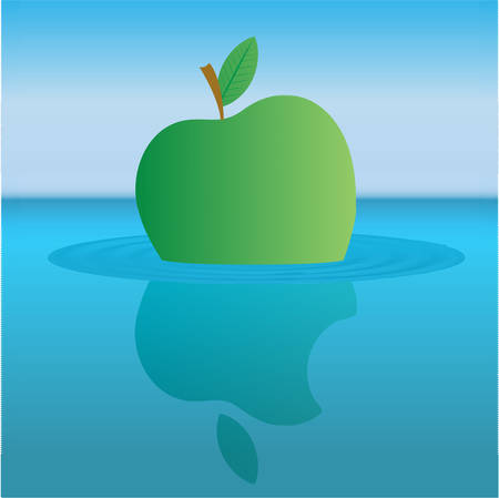 Comic drawing metaphor. Apple sailing over the sea, in doodle style Illustration