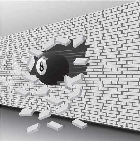 Billiard ball broke the wall. Vector illustration