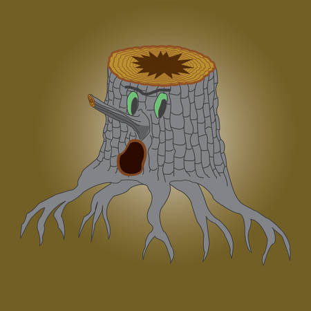 Tree stump monster cartoon color drawing, vector illustration