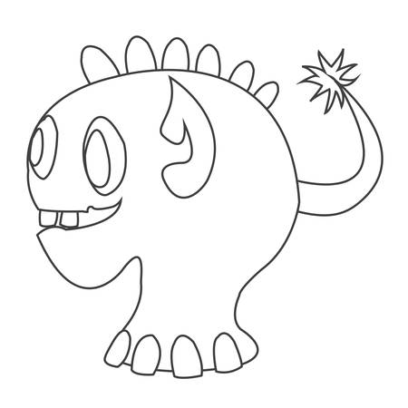 Cute monster contour character funny design element for coloring. Vector illustration Иллюстрация