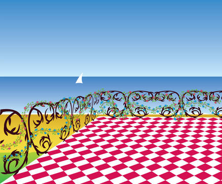 View from the terrace to the sea beach. Vector illustration Vector Illustratie