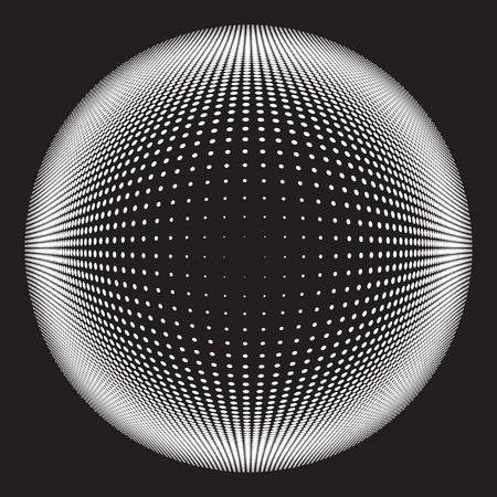 Dotted Halftone Vector Spiral Pattern or Texture. Stipple Dot Backgrounds with Black Circles