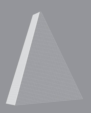 Parisian triangular tower. Layout, illustration. Vector