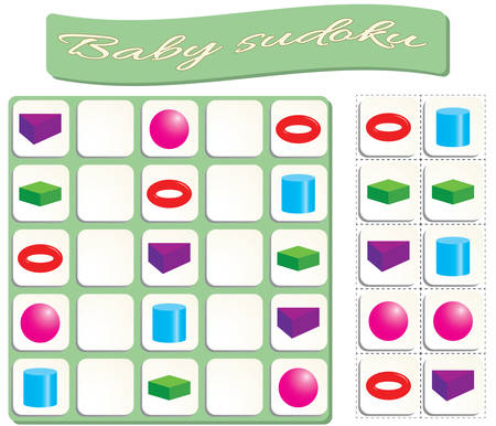 Baby Sudoku with colorful geometric shapes. Game for preschool kids, training logic