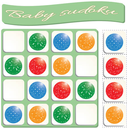 Baby Sudoku with colorful billiard balls. Game for preschool kids, training logic