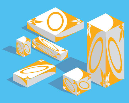 Medicine packaging set. Isometry Vector illustration Illustration