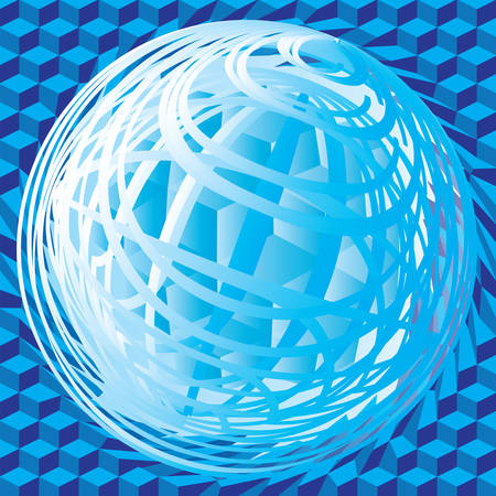 Abstract vector sign in sphere shape. Blue Globe
