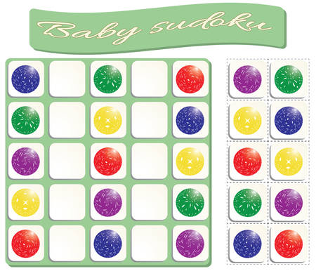 Baby Sudoku with colorful motley balls. Game for preschool kids, training logic